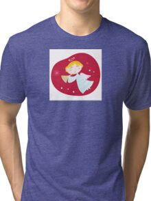 Christmas angel boy with trumpet. Cute christmas angel with trumpet on dark red background Tri-blend T-Shirt