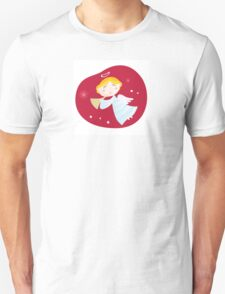 Christmas angel boy with trumpet. Cute christmas angel with trumpet on dark red background Unisex T-Shirt