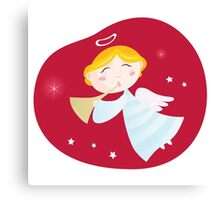 Christmas angel boy with trumpet. Cute christmas angel with trumpet on dark red background Canvas Print