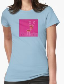 Doodle christmas reindeer Rudolph on snow. Red-nosed reindeer Rudolph Womens Fitted T-Shirt