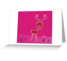 Doodle christmas reindeer Rudolph on snow. Red-nosed reindeer Rudolph Greeting Card