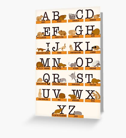 Rodents Alphabet Greeting Card