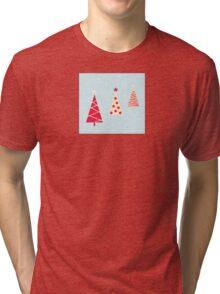 Vintage red christmas trees pattern. Modern christmas trees pattern Tri-blend T-Shirt