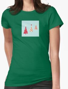 Vintage red christmas trees pattern. Modern christmas trees pattern Womens Fitted T-Shirt