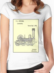 TRAIN LOCOMOTIVE; Vintage Patent Print Women's Fitted Scoop T-Shirt