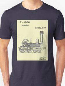 TRAIN LOCOMOTIVE; Vintage Patent Print Unisex T-Shirt