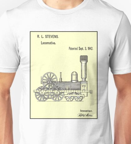 TRAIN LOCOMOTIVE; Vintage Patent Print Unisex T-Shirt