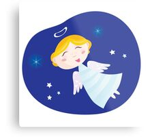 Christmas angel boy. Cute christmas angel symbol of love and christianity Metal Print