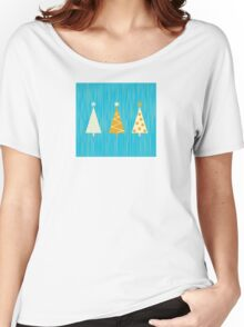 Vintage christmas tree pattern. Modern christmas trees pattern Women's Relaxed Fit T-Shirt