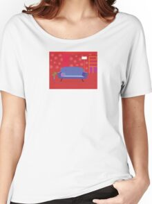 Red living room in retro style. Livingroom with sofa and bookcase Women's Relaxed Fit T-Shirt