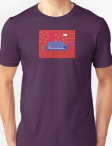Red living room in retro style. Livingroom with sofa and bookcase Unisex T-Shirt