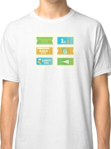 Blue and yellow retro cinema christmas tickets. Christmas shopping or entertainment Classic T-Shirt