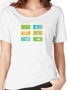 Blue and yellow retro cinema christmas tickets. Christmas shopping or entertainment Women's Relaxed Fit T-Shirt