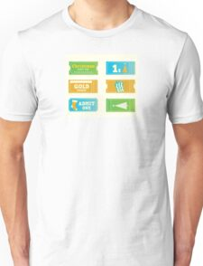 Blue and yellow retro cinema christmas tickets. Christmas shopping or entertainment Unisex T-Shirt