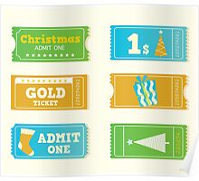 Blue and yellow retro cinema christmas tickets. Christmas shopping or entertainment Poster