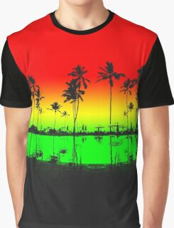 Rasta Colors Beach Silhouette Graphic T-Shirt