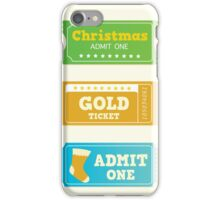 Blue and yellow retro cinema christmas tickets. Christmas shopping or entertainment iPhone Case/Skin