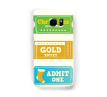 Blue and yellow retro cinema christmas tickets. Christmas shopping or entertainment Samsung Galaxy Case/Skin