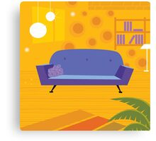 Retro living room in retro style. Old retro styled interior with sofa and bookcase Canvas Print