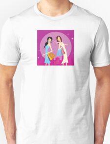 Shopping duo. Shopping girls in the city. Lifestyle fashion illustration Unisex T-Shirt