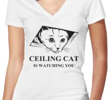 Ceiling Cat is Watching You Women's Fitted V-Neck T-Shirt