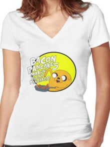 adventure time bacon pancakes Women's Fitted V-Neck T-Shirt