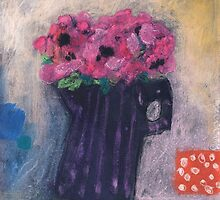 Pink anemones in striped jug by Tine  Wiggens