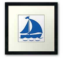 Blue Sailing Boat Framed Print