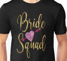 Bride Squad Faux Gold Foil Pink Glitter Wedding Bridal Bachelorette Party Hen Night Bridesmaid Heart Tribal Arrow Unisex T-Shirt