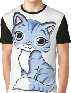 Blue Female Cat Graphic T-Shirt
