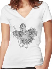 Tribal Shaman Rooster Women's Fitted V-Neck T-Shirt