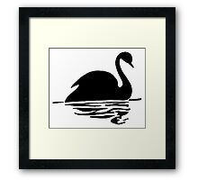 Swan on Water (Silhouette Drawing) Framed Print