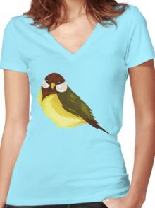 Small Cute Exotic Bird Species Women's Fitted V-Neck T-Shirt