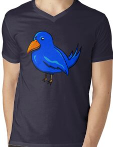 Blue Cartoon Bird Mens V-Neck T-Shirt