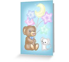 Cute Bear and Mouse with Pastel Balloons Greeting Card