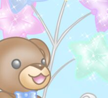 Cute Bear and Mouse with Pastel Balloons Sticker