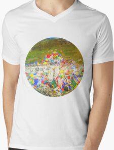 Tibet Flags Mountaintop Mens V-Neck T-Shirt