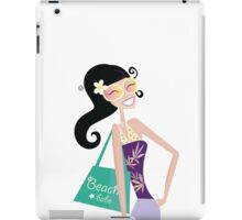 Hot beach chic. Sexy beach babe with shopping bag. Vector Illustration. iPad Case/Skin