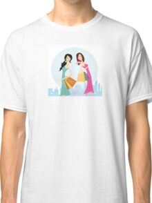 Shopping womans in the city. Shopping womans in town isolated on white. Classic T-Shirt