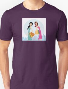 Shopping womans in the city. Shopping womans in town isolated on white. Unisex T-Shirt