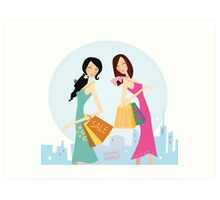 Shopping womans in the city. Shopping womans in town isolated on white. Art Print
