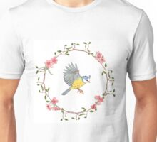 Flying bird and flowers Unisex T-Shirt