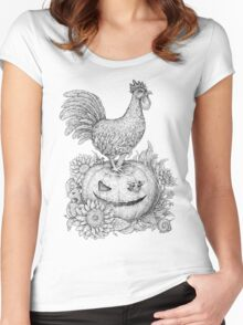 Halloween Rooster (and Mice) :D Women's Fitted Scoop T-Shirt