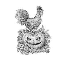 Halloween Rooster (and Mice) :D Photographic Print
