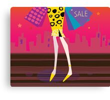 Long legs woman is shopping. Shopping woman in the city Canvas Print