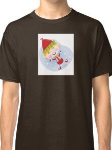 Santa christmas elf in red costume. Cute christmas elf in red. Vector cartoon Illustration. Classic T-Shirt