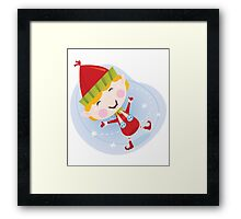 Santa christmas elf in red costume. Cute christmas elf in red. Vector cartoon Illustration. Framed Print