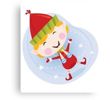 Santa christmas elf in red costume. Cute christmas elf in red. Vector cartoon Illustration. Canvas Print