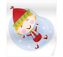 Santa christmas elf in red costume. Cute christmas elf in red. Vector cartoon Illustration. Poster