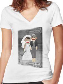 Sock Monkey Wedding Women's Fitted V-Neck T-Shirt